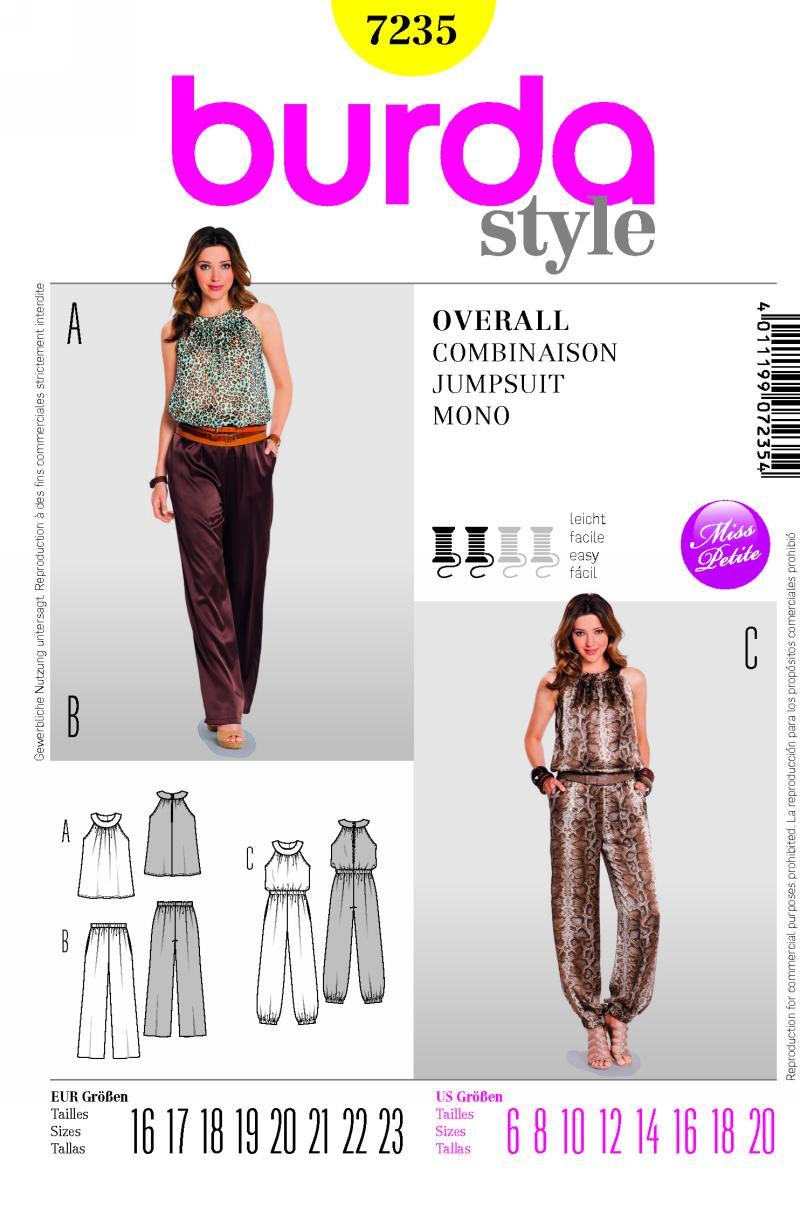 Burda Jumpsuit or top and pants 7235