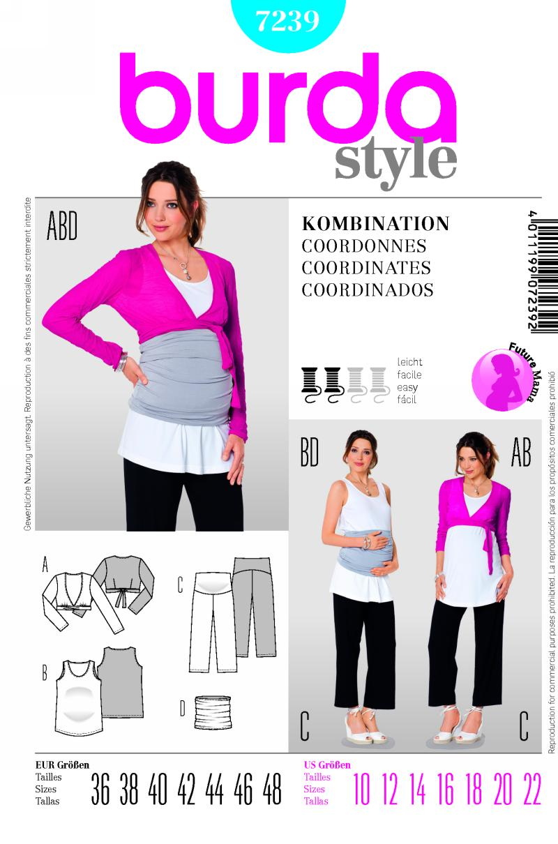 Burda Maternity top and pants; belly-band 7239