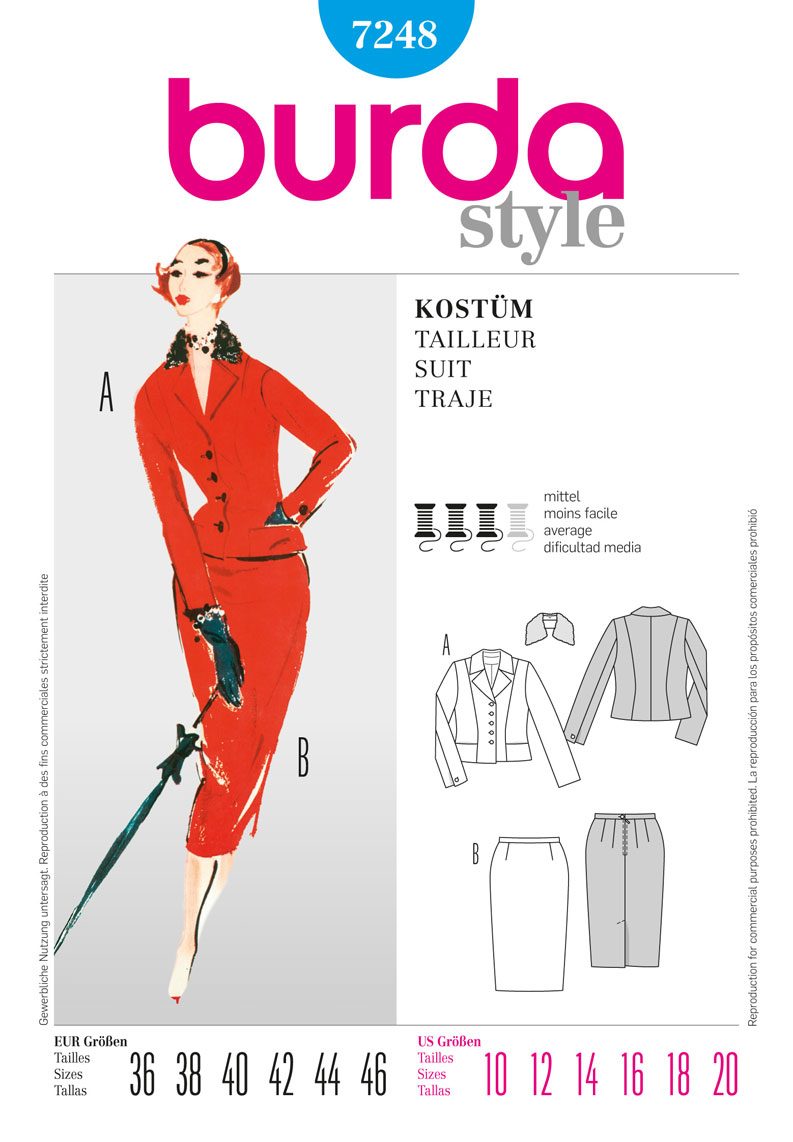 Burda suit with skirt and jacket 7248