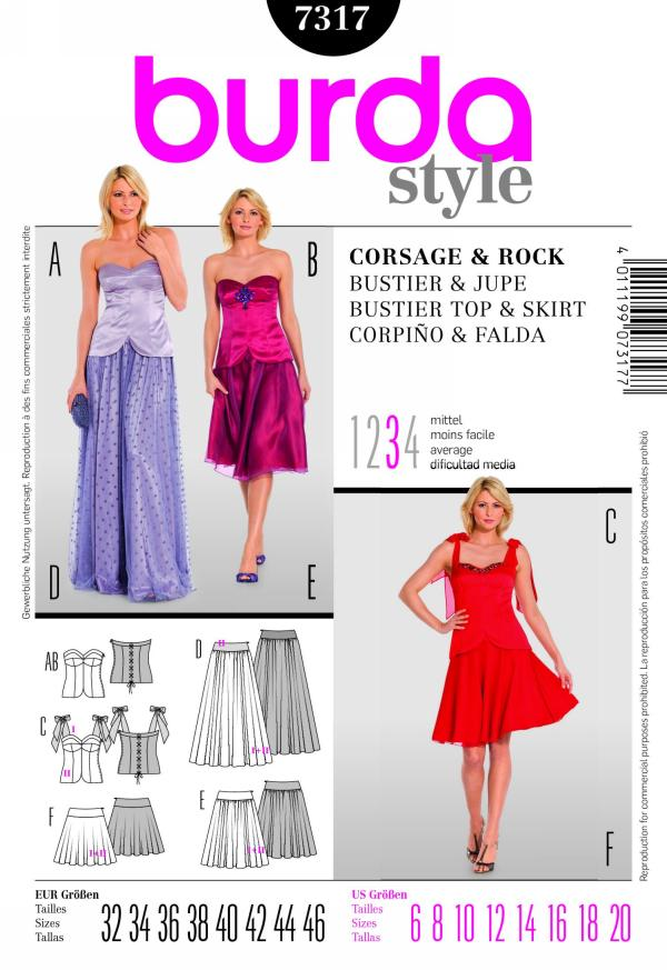 Burda bustier top and skirt 7317