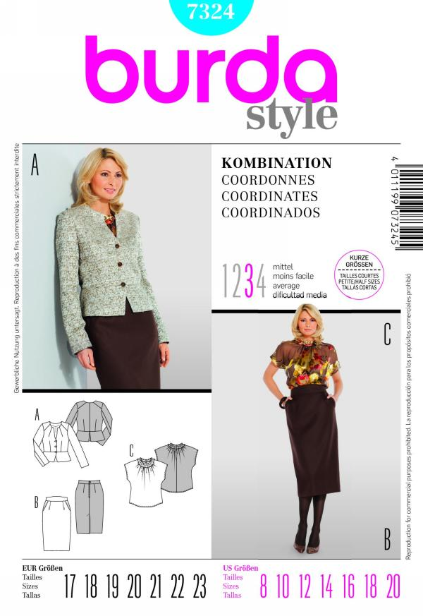 Burda misses jacket, skirt and top 7324