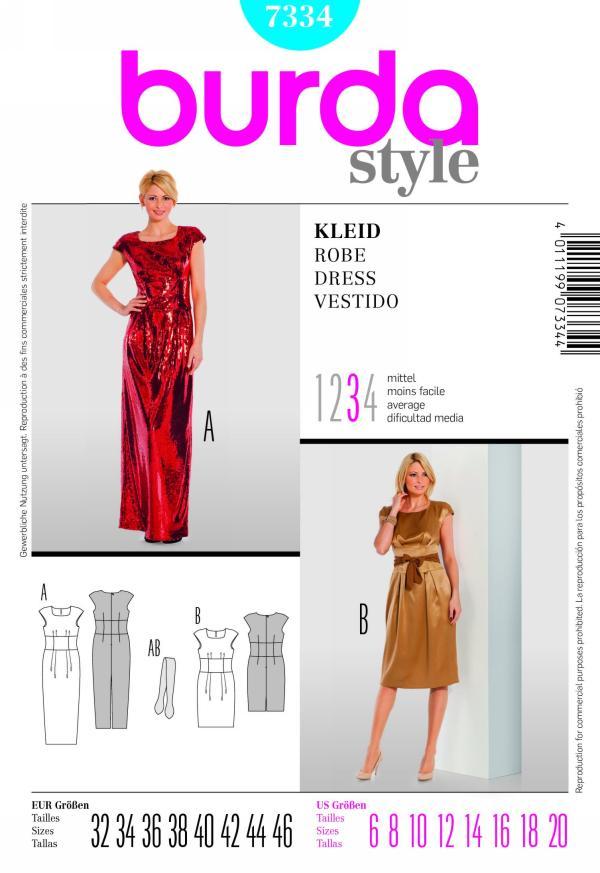 Burda misses formal dress 7334