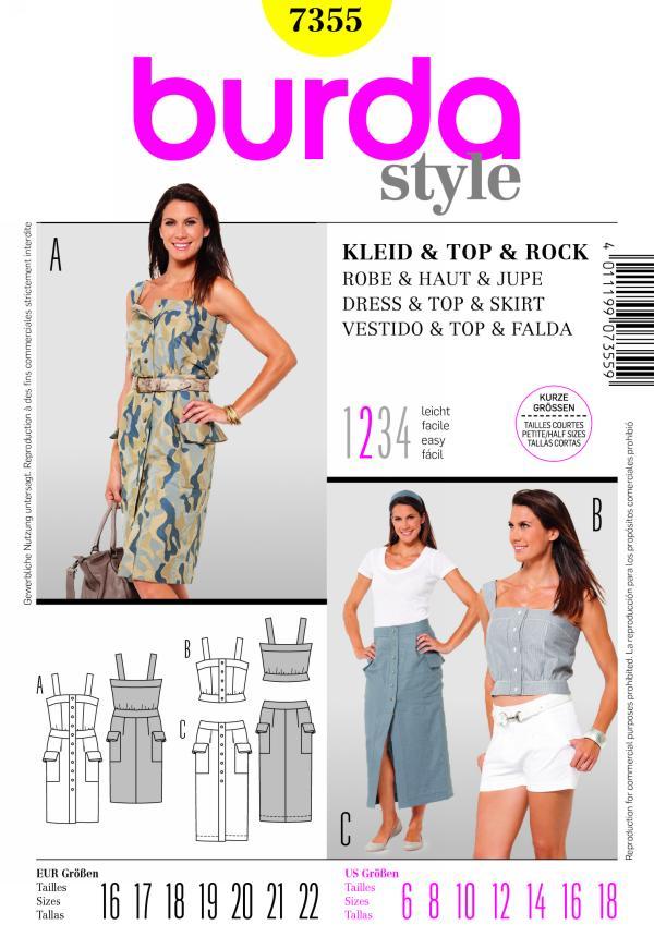 Burda DRESS & TOP & SKIRT 7355