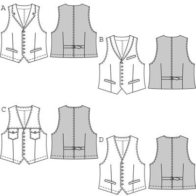 Burda Mens waistcoat/vest 7799