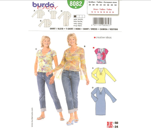 Burda Misses and Plus T-Shirt & Dress 8082