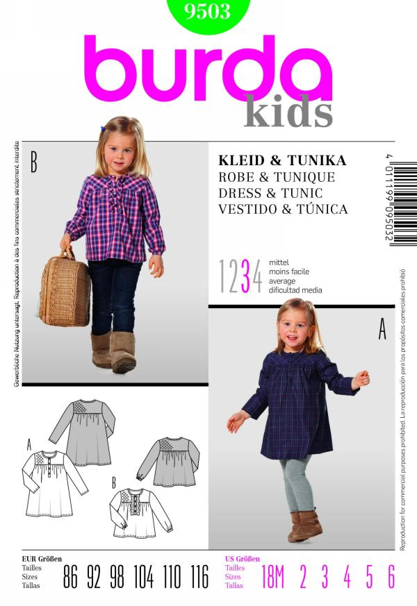 Burda girl's dress and tunic 9503
