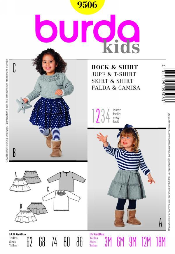 Burda children's skirt and shirt 9506