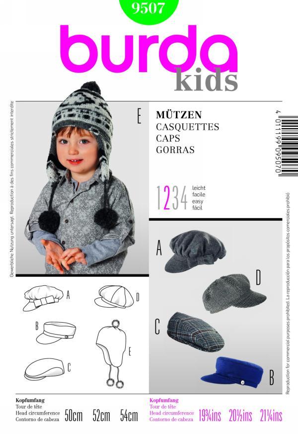 Burda children's caps 9507