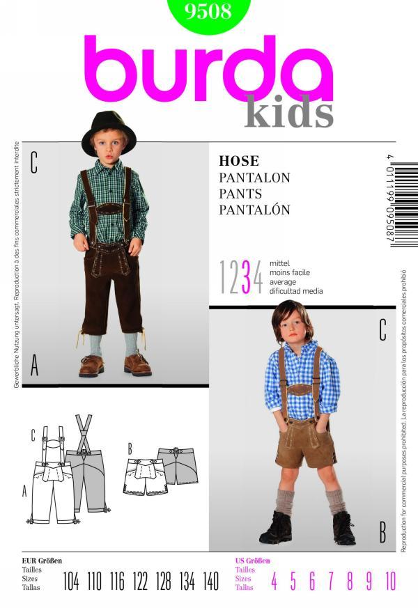 Burda boy's pants, lederhosen 9508