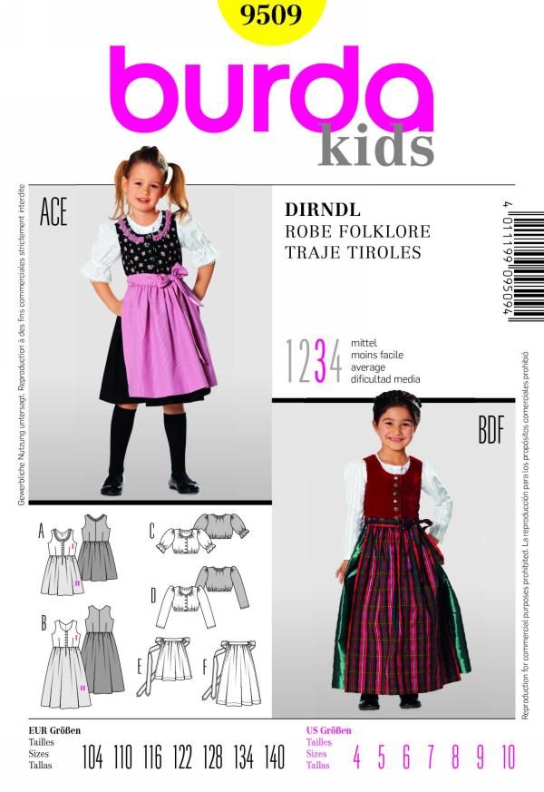 Burda girl's dirndle skirt 9509