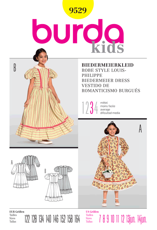 Burda Biedermeier Dress Costume for children 9529