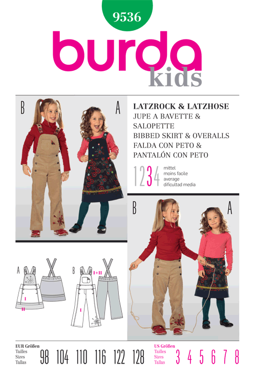 Burda Children's Bibbed Skirt and Overalls 9536