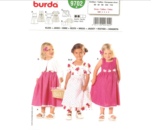 Burda Toddler and Child's Dress & Jacket 9702