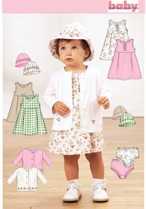 Butterick Babies' dress, hat, jacket 3782