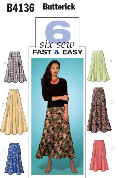 Butterick Very easy six gore skirts 4136