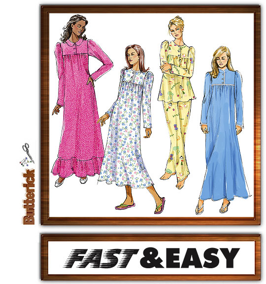 Butterick nightgown and pajamas 4939