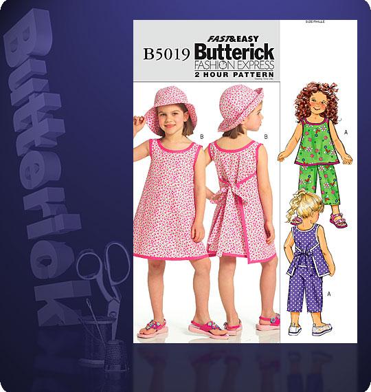 Butterick Girls Dress, Top, Skirt, Pants 5019