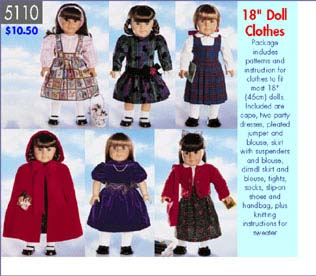 Butterick doll wardrobe for 18
