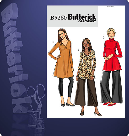 Butterick Fast & Easy TUNIC, DRESS AND P 5260
