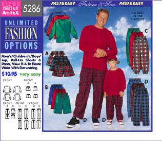 Butterick Mens/Boys top, shorts and pant 5286