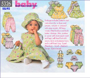Butterick Baby's Dress, Jumper And Rompe 5326