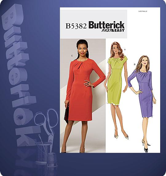 Butterick streight dress fold pleat neck 5382