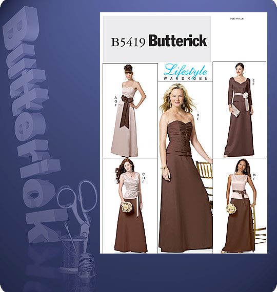 Butterick  MISSES' TOP, SKIRT AND SASH 5419
