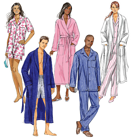 Butterick Misses'/Men's Robe, Belt, Top, Shorts and Pants 5537