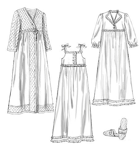 Butterick Misses' Nightgown, Robe and Slippers 5544