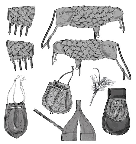 Butterick Sword Holder, Bags, Pouch, Bracers, Shoulder Covers and Feather Pin 5580