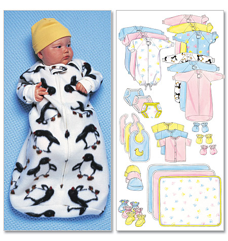 Butterick Infants' Bunting, Jumpsuit, Shirt, Diaper Cover, Blanket, Hat, Bib, Mittens and Booties 5583