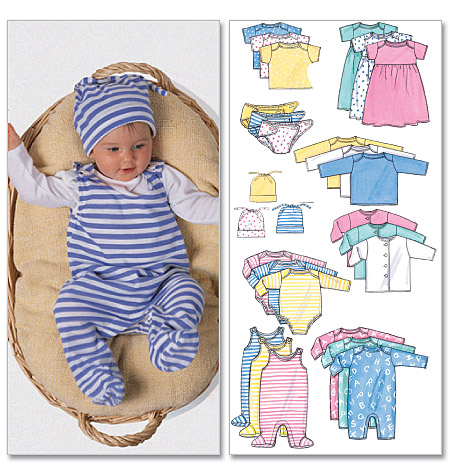 Butterick Infants' Jacket, Dress, Top, Romper, Diaper Cover and Hat 5585