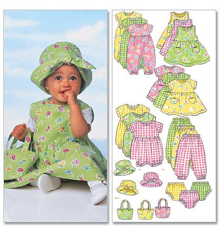 Butterick infants dress, jumper, romper, jumpsuit, panties, pants, hat and bag 5624
