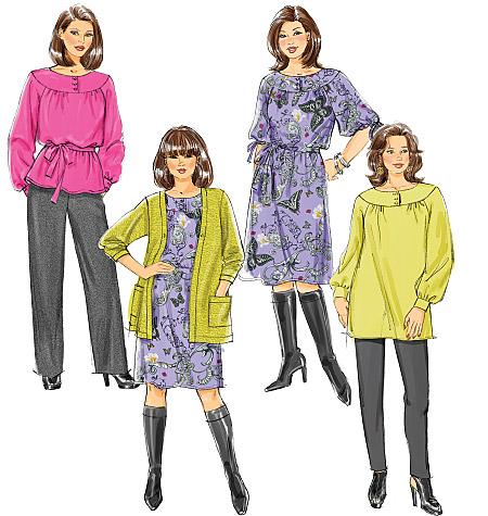 Butterick Women's/Women's Petite Cardigan, Top, Tunic, Dress, Belt and Pants 5692