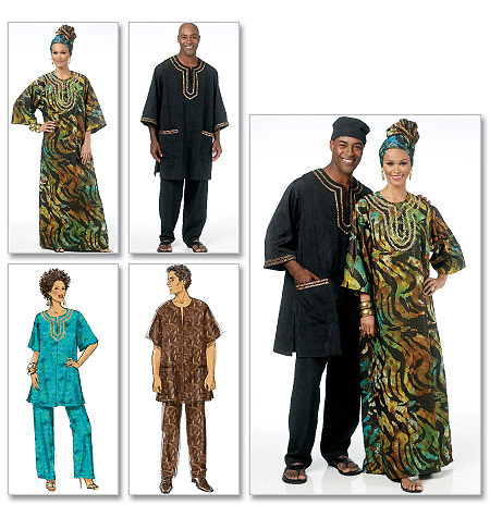 Butterick Misses'/Men's Tunic, Caftan, Pants, Hat and Head Wrap 5725