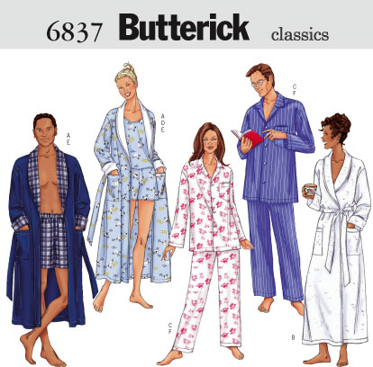Butterick Unisex robe, top, shorts, pant 6837