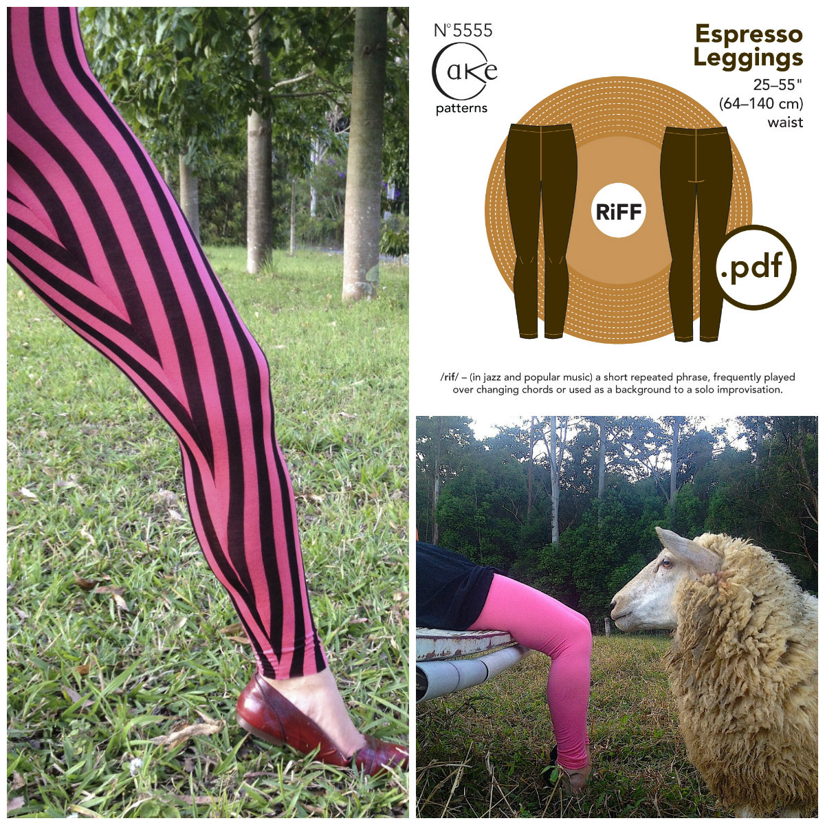 Cake patterns Espresso Leggings Downloadable Pattern 5555