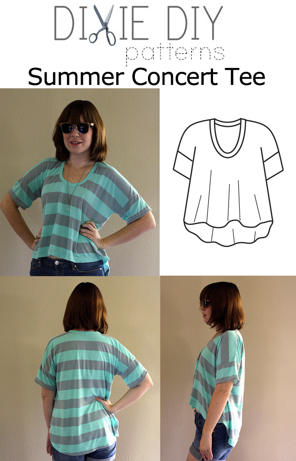 Dixie DIY Summer Concert Tee Downloadable Pattern d002