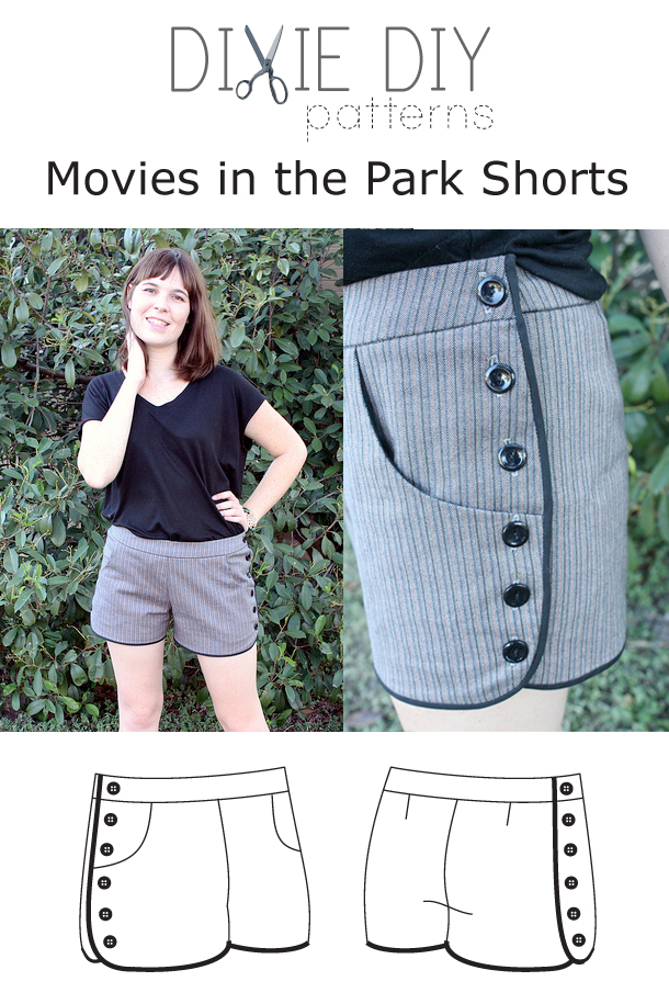 Dixie DIY Movies in the Park Shorts Downloadable Pattern d003