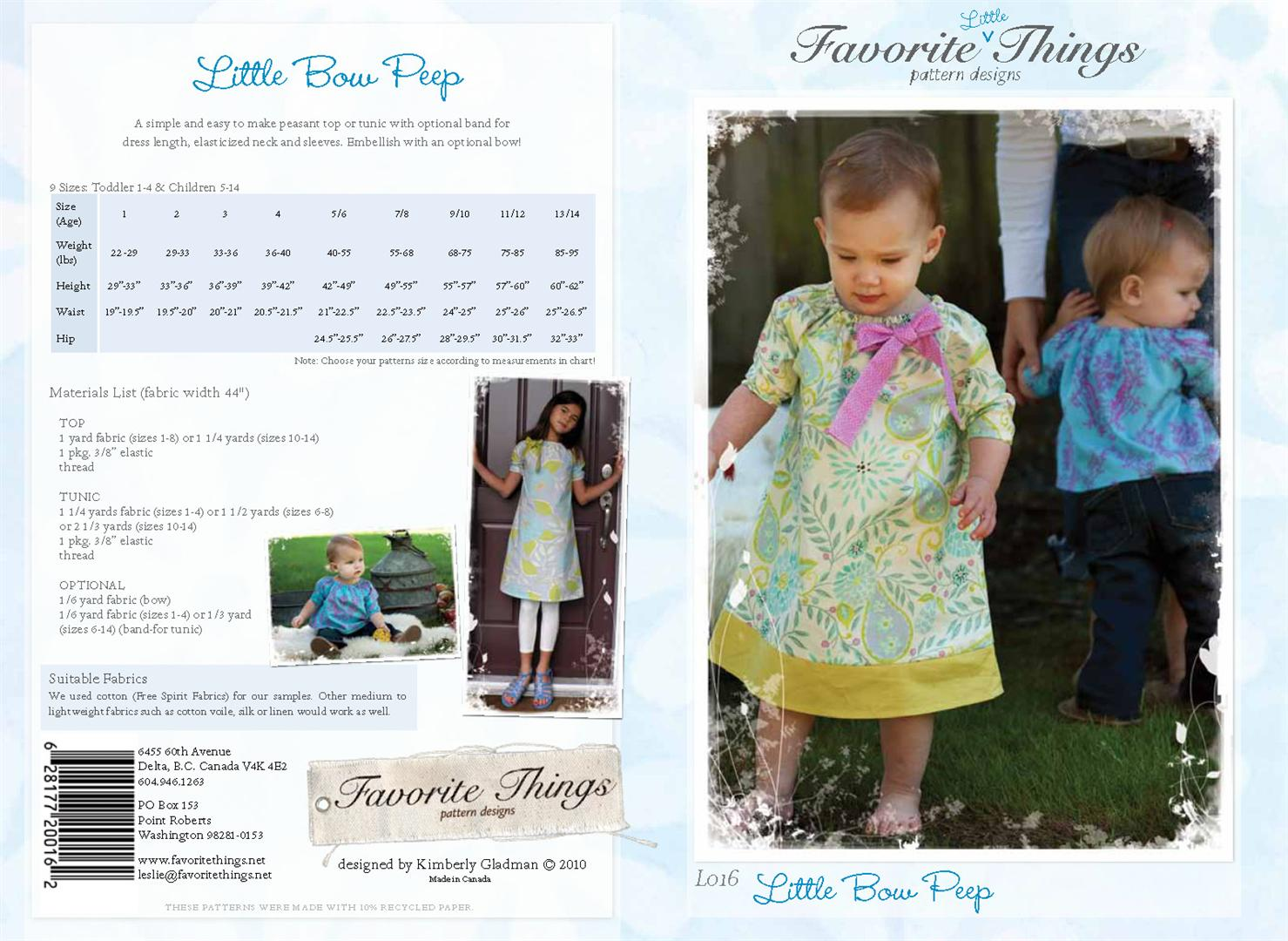 Favorite Things Little Bow Peep L016