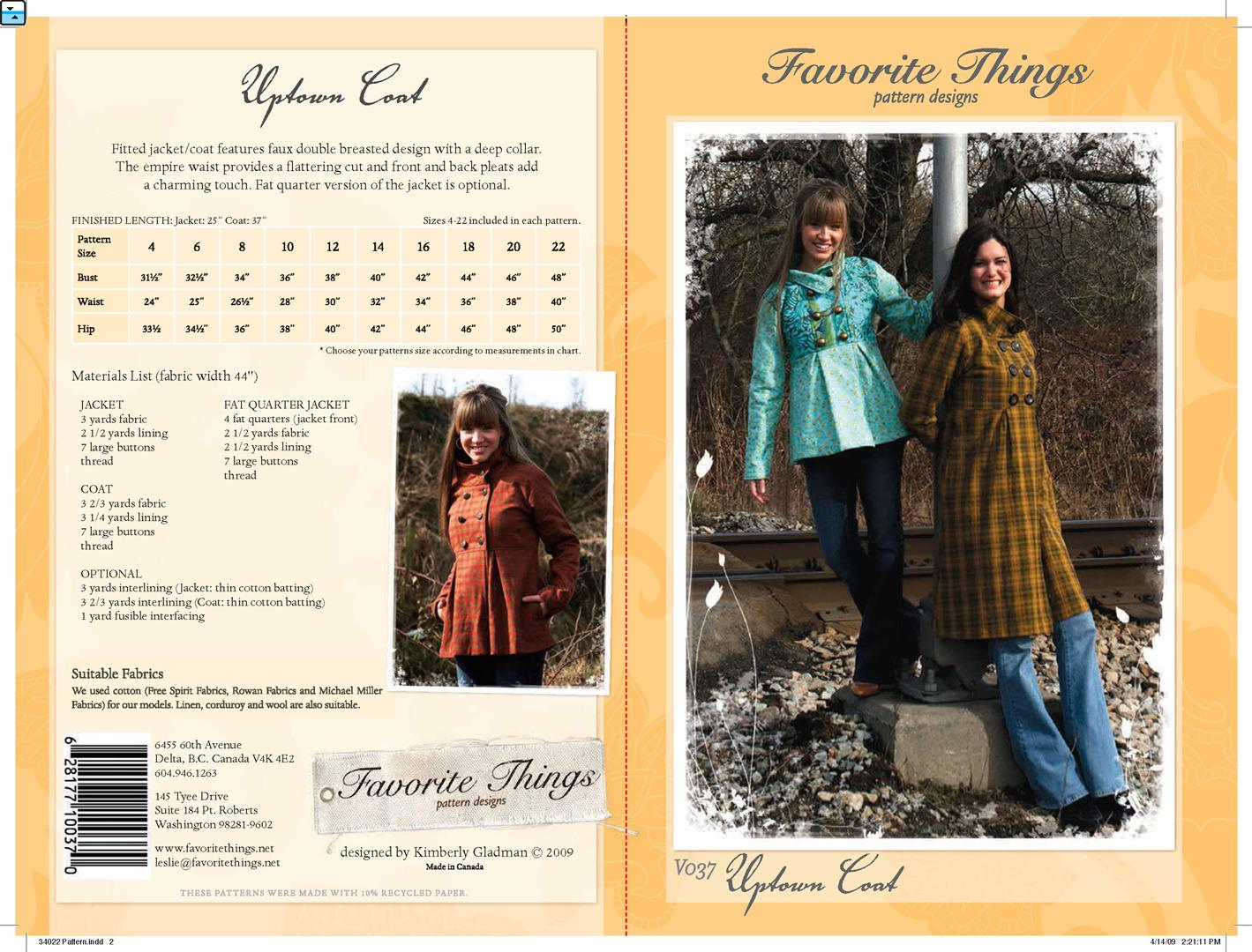 Favorite Things Uptown Coat V037