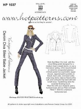 HotPatterns Vintage Hot patterns Denim Diva Biker Babe Jacket 1037