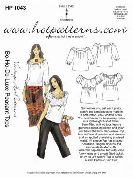 HotPatterns Vintage Hot patterns Bo-Ho-de-Luxe Peasant Tops 1043