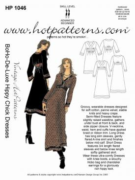 HotPatterns Vintage Hot patterns Bo-Ho-De-Luxe Hippy Chick Dresses 1046