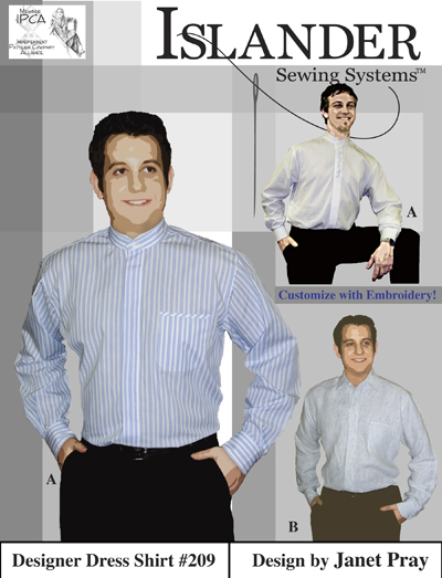 Islander Sewing Systems Men's Designer Dress Shirt Pattern