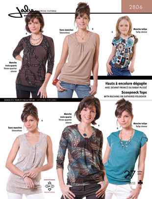 Jalie Scoopneck tops with ruching or gathered foldover 2806