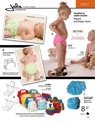 Jalie Diapers & Diaper Cover 2907