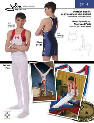 Jalie Men's Gymnastics Shorts and Pants 2914