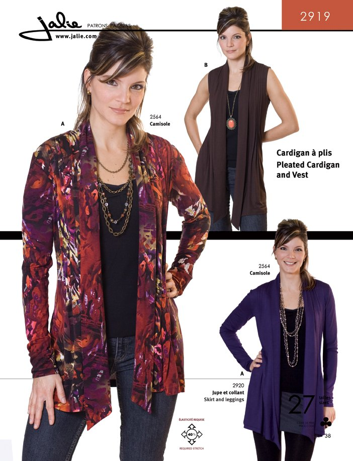 Jalie Pleated Cardigan and Vest 2919