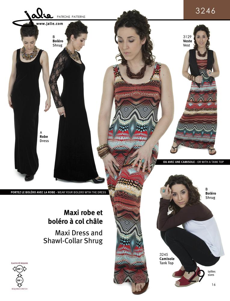 Jalie Maxi Dress and Shawl-Collar Shrug 3246